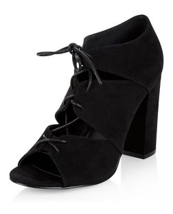 Black Suede Cut Out Ghillie Heels  | New Look