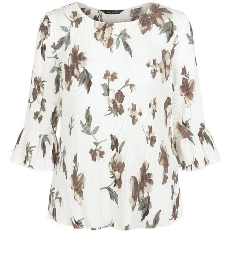 White Floral Print Pleated Top | New Look