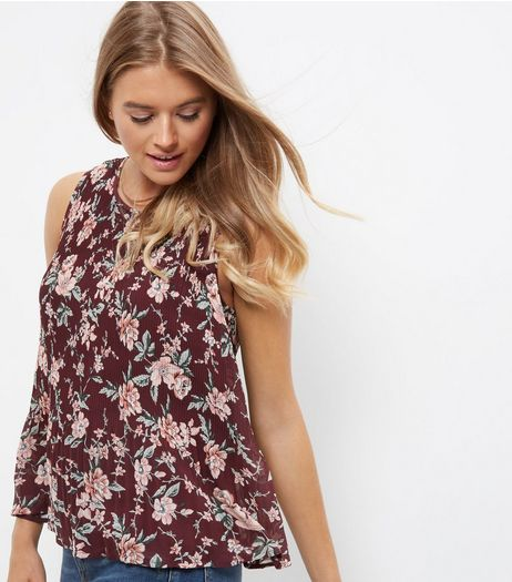 Red Floral Print Pleated Sleeveless Top  | New Look
