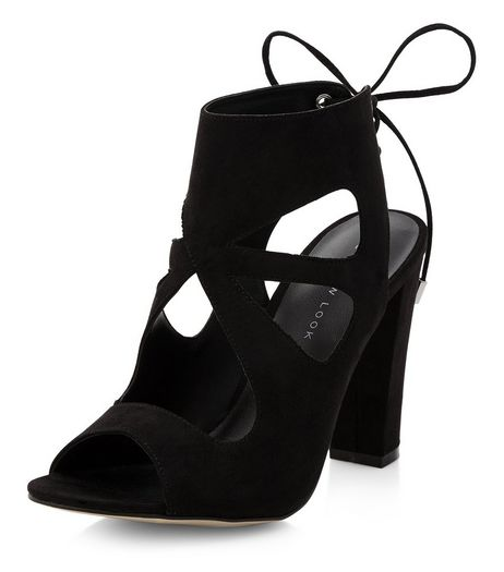 Black Suedette Cut Out Tie Back Heeled Sandals  | New Look