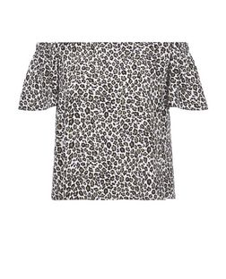 White Leopard Print Bardot Neck Top | New Look