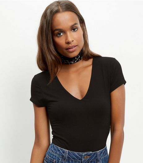 Black V Neck Cap Sleeve Bodysuit  | New Look