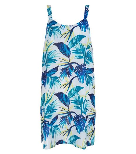 Yellow Sheer Tropical Print Ladder Back Dress | New Look