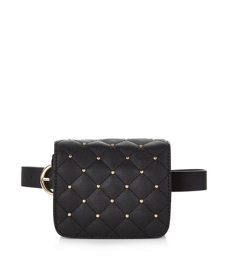 Black Studded Quilted Purse Belt | New Look