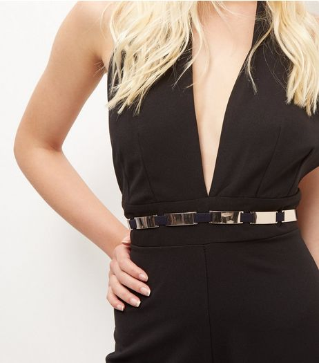 Black Stretch Belt  | New Look