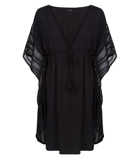 Black Lace Panel Kaftan | New Look