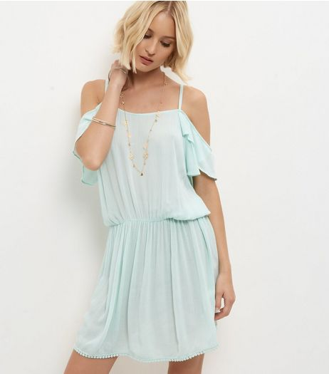 Mint Green Cold Shoulder Dress | New Look
