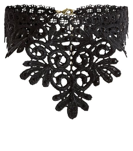 Black Lace Bib Necklace | New Look