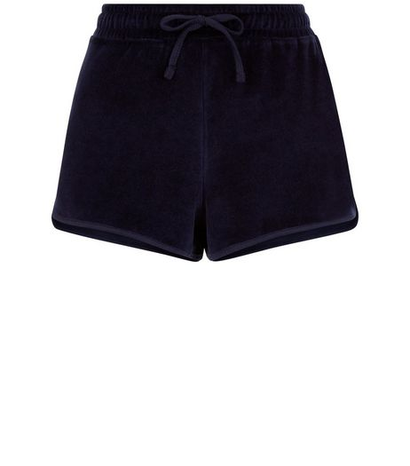 Navy Velvet Runner Shorts | New Look