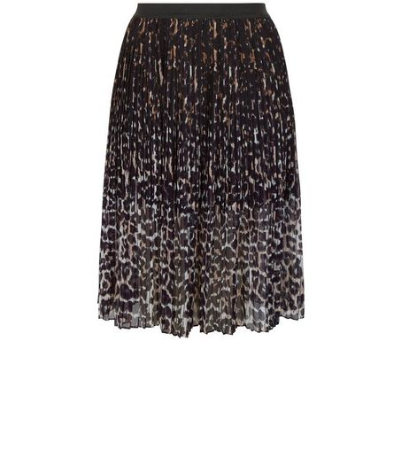 Curves Black Animal Print Pleated Midi Skirt | New Look