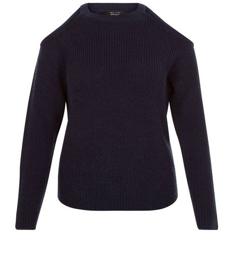 Teens Navy Ribbed Cold Shoulder Jumper | New Look