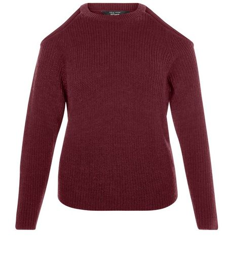 Teens Burgundy Ribbed Cold Shoulder Jumper | New Look