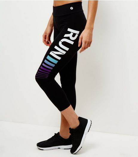 Black Ombre Run Cropped Sports Leggings  | New Look