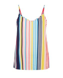 Multicoloured Stripe V Neck Cami  | New Look