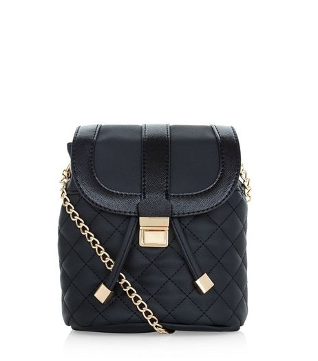 Black Quilted Duffle Chain Shoulder Bag  | New Look