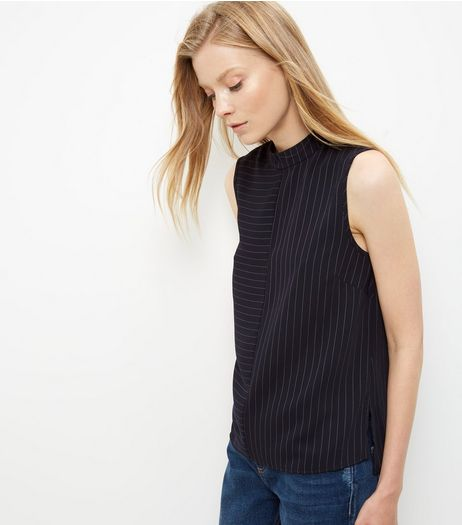 Blue Contrast Pinstripe Sleeveless Top | New Look