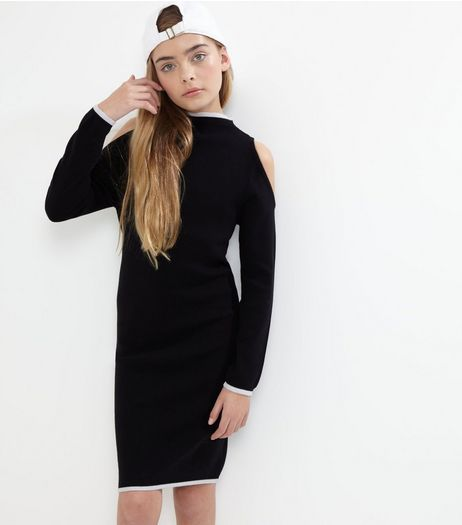 Black Contrast Cold Shoulder Bodycon Dress | New Look