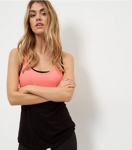 Coral Colour Block Knot Back Sports Vest  | New Look