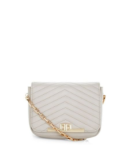 Mink Chevron Quilted Shoulder Bag | New Look