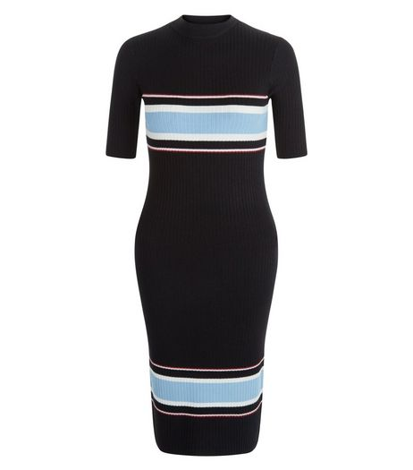 Teens Black Stripe Ribbed Midi Dress | New Look
