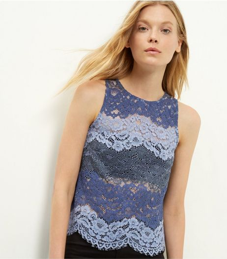 Blue Contrast Lace Sleeveless Top  | New Look