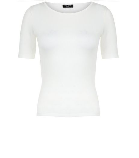 Petite Cream Ribbed 1/2 Sleeve Top | New Look
