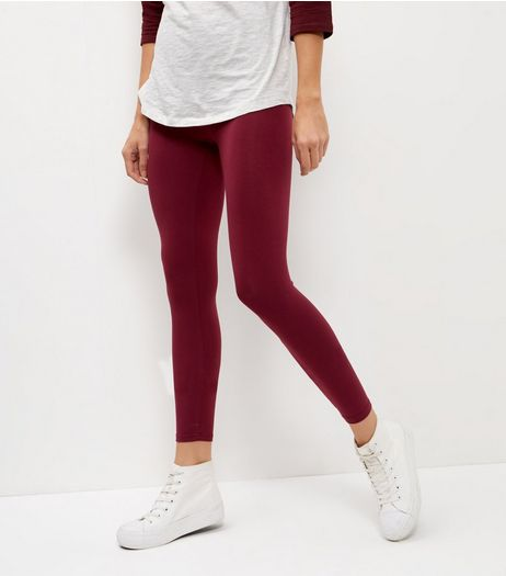 2 Pack Dark Grey and Burgundy Leggings  | New Look