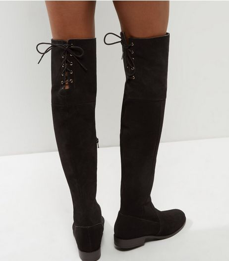 Black Suede Tie Up Over The Knee Boots | New Look