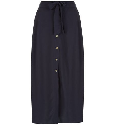 Tall Navy Button Front Midi Skirt | New Look