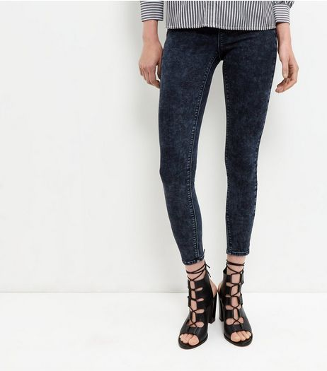 Navy Acid Wash Jeggings  | New Look
