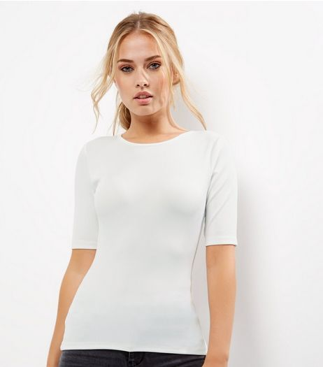 Tall Cream Ribbed Cut Out Back T-Shirt | New Look