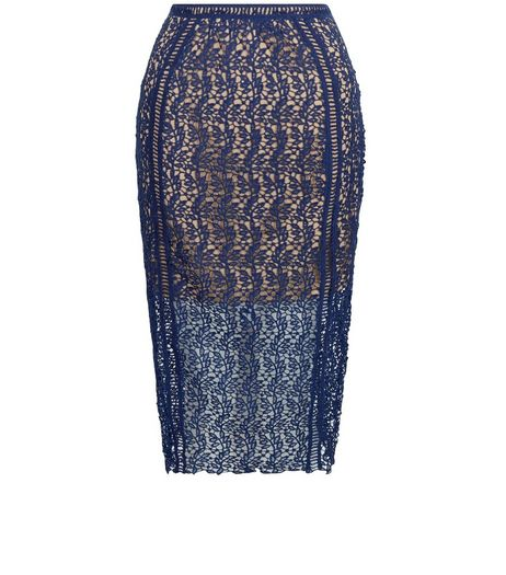 Petite Navy Lace Pencil Skirt  | New Look