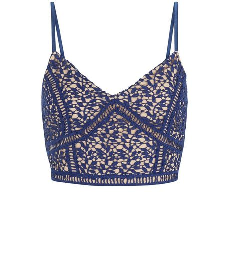 Petite Navy Lace Bralet | New Look
