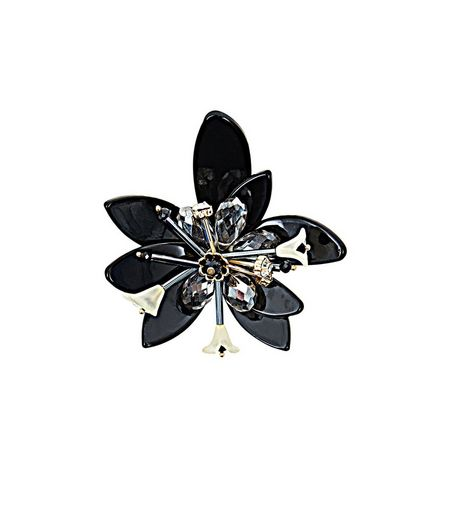 Black 3D Layered Flower Brooch | New Look