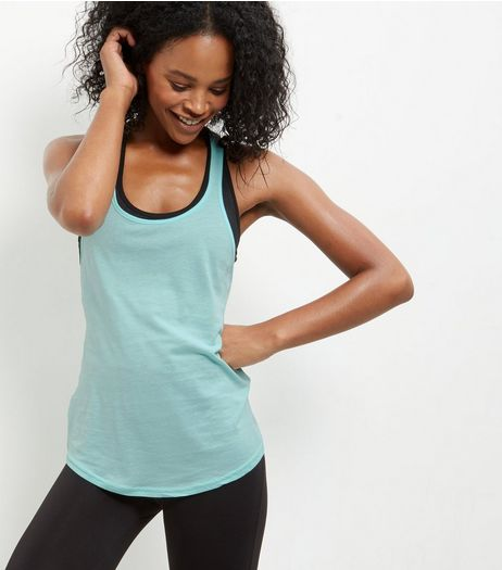 Mint Green Knot Back Sports Vest | New Look