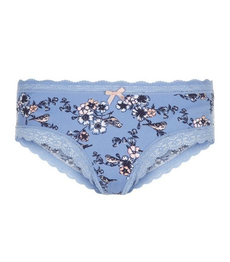 Blue Floral Bird Print Brazilian Briefs | New Look
