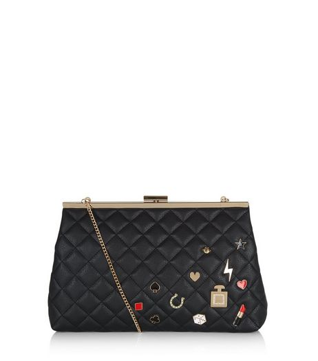 Black Quilted Badge Clutch | New Look