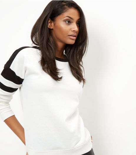 White Colour Block Sweater  | New Look