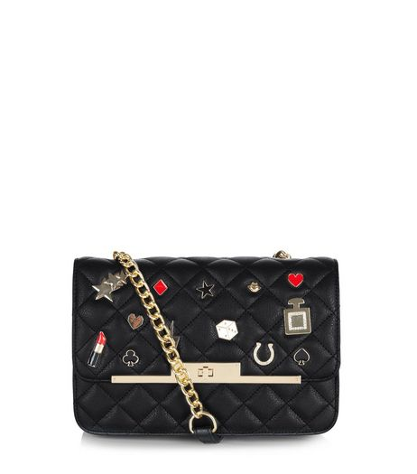 Black Quilted Badge Shoulder Bag | New Look