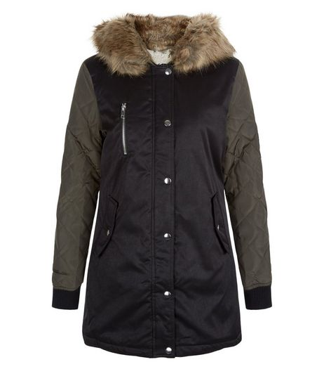Teens Black Faux Fur Trim Hooded Parka | New Look