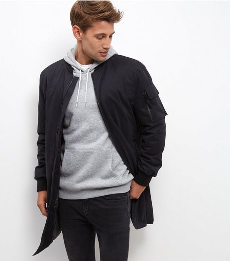 Black Longline Bomber Jacket | New Look
