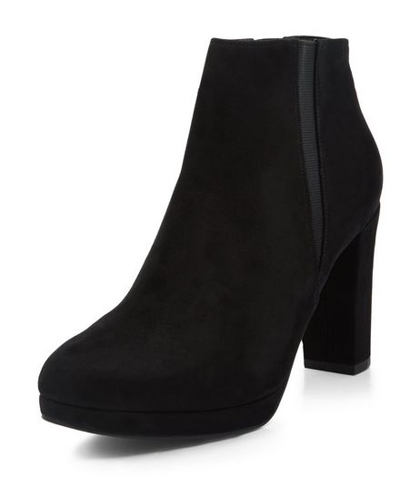 Black Suedette Platform Cheslea Boots  | New Look