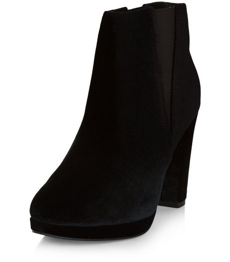 Black Velvet Block Heel Chelsea Boots  | New Look