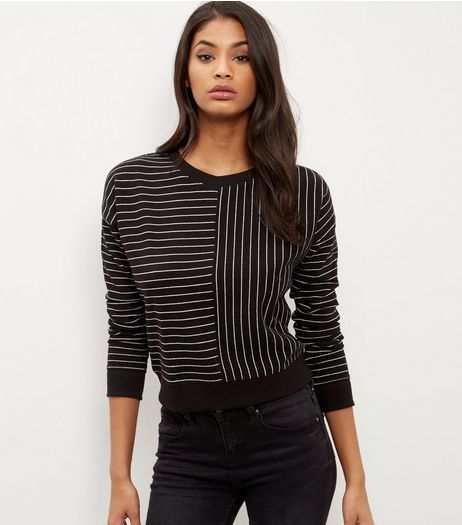 Black Contrast Pinstripe Sweater  | New Look