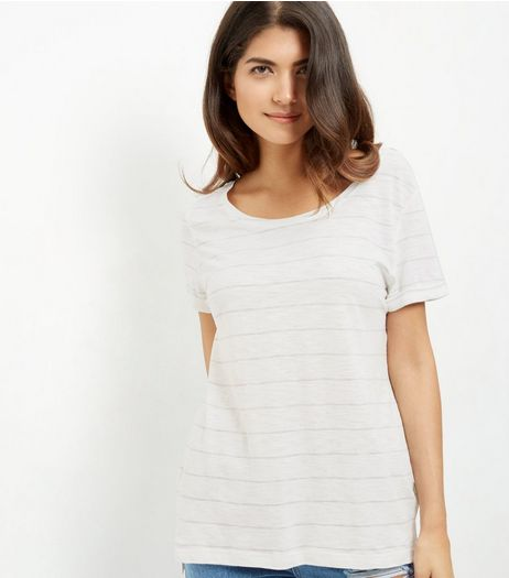 White Stripe Slub T-Shirt  | New Look