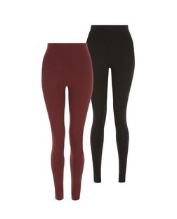 Tall 2 Pack Red and Black Leggings | New Look