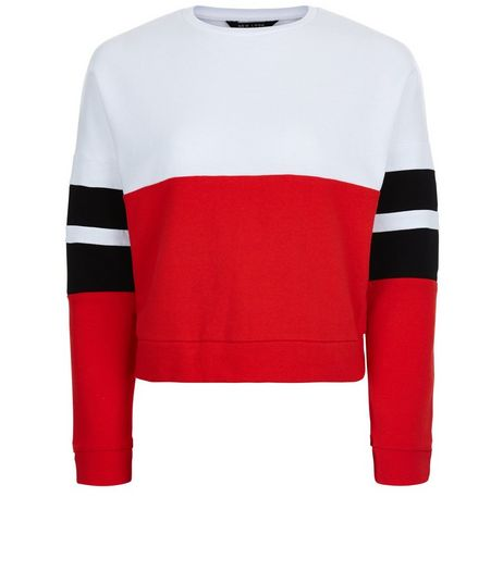 Teens Red Colour Block Stripe Sleeve Sweater  | New Look