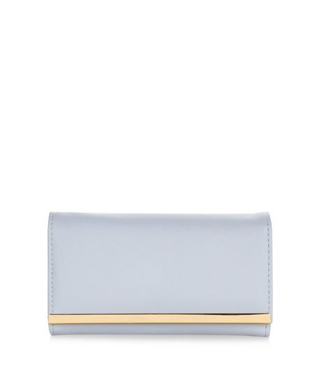 Pale Blue Metal Bar Purse | New Look