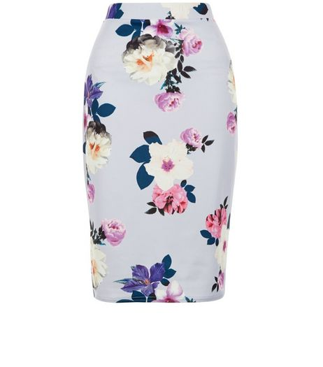 Petite Purple Floral Print Midi Skirt  | New Look