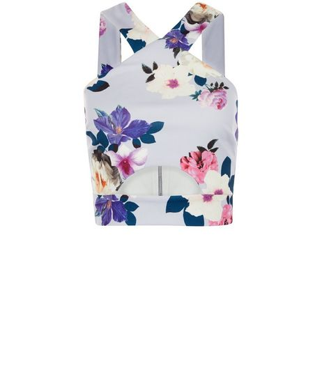 Petite Purple Floral Print Cut Out Crop Top  | New Look